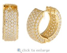 Ziamond Cubic Zirconia Pave Hoop Earrings In 14K Yellow Gold.  The Cirelli Hoops (large) feature approximately 7 carats in total carat weight.  $1695 #ziamond #cubiczirconia #cz #hoops #earrings #14kyellowgold #pave #jewelry #diamond