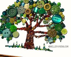 Button Art Tree of Life Button Art with Swarovski by BellePapiers