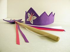 Wool Felt Crown and Wand by dreamchildstudio on Etsy
