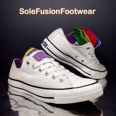 5c3e70eab19be7 Converse Womens All Star Trainers White Sz 5 Rainbow Tongue Sneaker EU 37.5  US 7