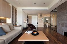 Modern apartment design with retractable glass interior walls