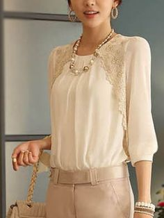 Embroidery Design White Long Sleeve Chiffon Blouse