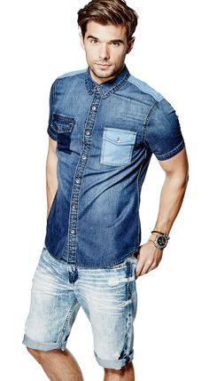 Slim-Fit Denim Shirt in Regiment Wash Fitted Denim Shirt, Denim Shirt Men, Denim Jeans, Masculine Style, Denim Outfit, Jean Shirts, Slim Fit, Denim Fashion, Jeans Style