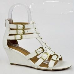 Womens Ankle Strappy Size 8.5 White Gladiator Sandals Zipper Buckle Heel Wedge #CityClassified #PlatformsWedges