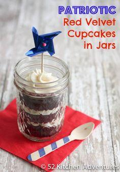 Patriotic Red Velvet Cupcakes in Jars