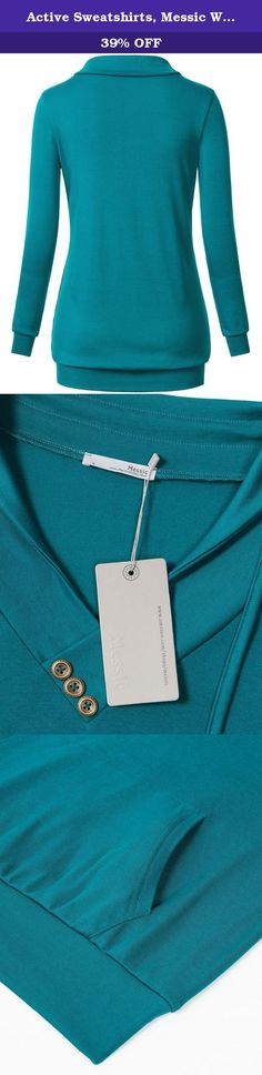 """Active Sweatshirts, Messic Women's Long Sleeve Cross V-Neck Kangaroo Pocket Lapel Tunic Sweater, Aqua, X-Large. For more Tops choices, search Amazon for """"Messic """" Messic offers trendy designer inspired fashion at deep discounts.You can wear this casual pullover sweatshirt in every casual occasion. Features: Sweatshirt/Sweater(Without a Hood) Long Sleeve and Cross V-Neck Flattering Loose Torso Slim Cut Arms Stylish Button Accents Elastic Knitted Fabric Kangaroo Pocket Classic Solid Color..."""