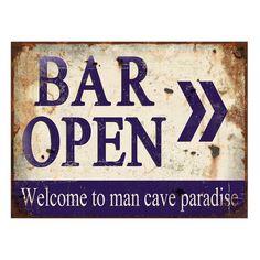 Placa decorativa de ferro BAR OPEN > Welcome to man cave paradise