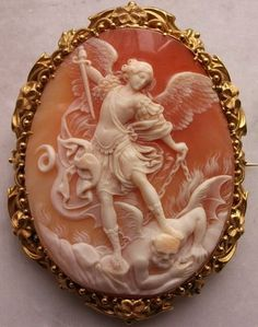 ":  "" Victorian Cameo of St. Michael the Archangel Slaying the Devil """