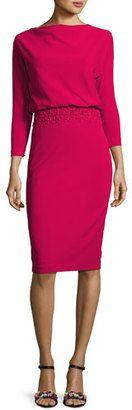 Shop Now - >  https://api.shopstyle.com/action/apiVisitRetailer?id=619223997&pid=uid6996-25233114-59 Badgley Mischka 3/4-Sleeve Stretch Crepe Blouson Dress, Pink  ...