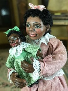 Miniature Dollhouse Sculpted Doll Artisan Betsy Baker African American Girl-Doll #BetsyBaker
