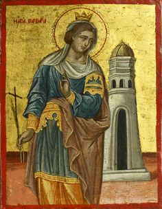Detailed view: Saint Barbara- exhibited at the Temple Gallery, specialists in Russian icons Saint Katherine, Saint Barbara, Byzantine Icons, Byzantine Art, Religious Icons, Religious Art, Greek Icons, Russian Icons, Religious Paintings