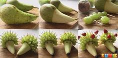 Pear Hedgehog: Living Food Art ~ Make slit halfway around pear. Slice away skin down to the tip. Put grapes & strawberries on skewers. Insert skewers into pear to form 'hair'. Put blueberries or black grapes for the nose and sultanas for the eyes. Food Design, Cute Food, Good Food, Funny Food, Funny Fruit, Deco Fruit, Snacks Für Party, Food Decoration, Fruit Decorations