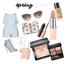 """""""glow xo"""" by fashionlandfb ❤ liked on Polyvore featuring beauty, Elie Saab, Gucci, Yves Saint Laurent, Givenchy, Essie, Benefit, Topshop and springglow"""