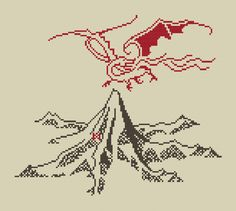 The Lonely Mountain and Smaug cross stitch by evolvedxstitch