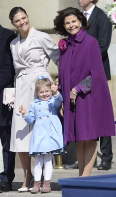 The Swedish royal family celebrates King Carl Gustaf's 69th birthday in keeping with tradition with a public celebration in the courtyard of the Royal Palace in Stockholm on April 30, 2015. Crown Princess Victoria, Crown Princess Estele and Queen Silvia.