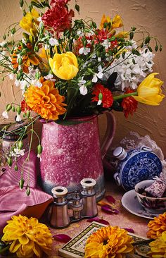 Pitcher Of Flowers Still Life Photograph by Garry Gay - Pitcher Of Flowers Still Life Fine Art Prints and Posters for Sale