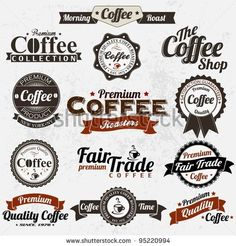 Find Set Vintage Retro Coffee Badges Labels stock images in HD and millions of other royalty-free stock photos, illustrations and vectors in the Shutterstock collection. Web Design, Label Design, Logo Design, Graphic Design, Coffee Icon, Coffee Art, Vintage Labels, Retro Vintage, Etiquette Vintage