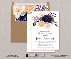 Bohemian Plum Watercolor Floral Bridal Shower Invitation Flowers Gold Glitter Dots Boho Wedding Invite FREE PRIORITY SHIPPING - Kerri style available at digibuddha.com