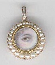 Antique Lover's Eye Miniatures  Portrait miniatures of just an eye, often referred to as lover's eyes, are as captivating, symbolic and evocative as jewelry can be.  Portrait miniatures  were tiny paintings of family, loved ones and those departed and were usually extremely personal remembrances often set in jewelry and worn close to the person.
