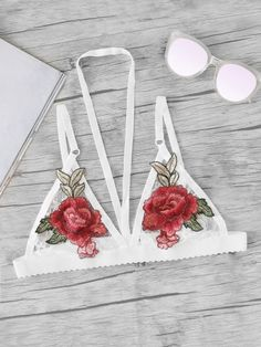 6b06019a9b3abc SheIn offers Embroidered Rose Applique Lace Halter Bralette   more to fit  your fashionable needs.