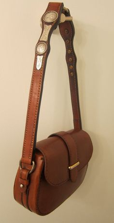 Western Leather Cowgirl Purse with vintage sterling accents, Saddlers Union Roma bag. $549.99, via Etsy.