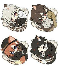 Osamu Dazai, Nakahara Chuuya, Ryunosuke Akutagawa and Nakajima Atsushi Tv Anime, Anime Plus, Anime Chibi, Anime Manga, Anime Art, Dazai Bungou Stray Dogs, Stray Dogs Anime, Neko, Bungou Stray Dogs Atsushi