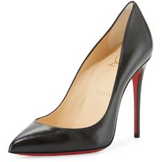 Christian Louboutin Pigalle Follies Leather 100mm Red Sole Pump (11,920 MXN) ❤ liked on Polyvore featuring shoes, pumps, black, leather slip on shoes, black leather shoes, pointy-toe pumps, slip on shoes and black pointed toe pumps