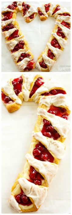 Candy Cane Danish ~ This gorgeous danish is easy to assemble with crescent rolls, cherry pie filling and sweetened cream cheese... It's a fun Christmas breakfast treat to make with kids!