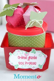 Crème glacée aux fraises dans contenants recyclés.  Strawberry ice cream with paper boxes strawberries. Birthday Cake, Birthday Parties, Creme, Magazine, Cakes, Party, Kids, Strawberry Ice Cream, Strawberries