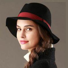 Fashion fedora hat for women winter trilby wool hats wide brim design