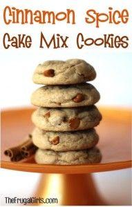 Cinnamon Spice Cake Mix Cookies Recipe at TheFrugalGirls.com