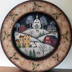 Christmas Folk Art Original Hand Painted Wood Plate by Ravensbend (Rabbit Houses Ikea) Painted Plates, Hand Painted, Painted Wood, Wooden Plates, Pintura Tole, Arte Country, Primitive Folk Art, Primitive Plates, Country Paintings