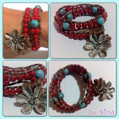 Pulsera rojo y turquesa / Wrap bracelet