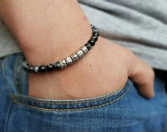 Your place to buy and sell all things handmade Lava Bracelet, Stone Bracelet, Shambala Bracelet, Necklace Designs, Black Onyx, Bracelets For Men, Beaded Jewelry, Best Gifts, Chokers