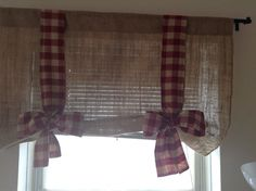 Burlap Tie Up Valance rith Gingham on Etsy, $38.00