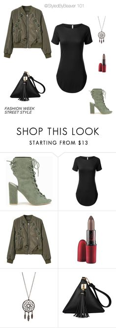 """""""FALL FASHION  NYFW LACED UP STREET STYLE"""" by beavers-mum ❤ liked on Polyvore featuring Nly Shoes and MAC Cosmetics"""