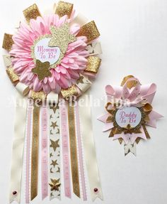 Pink And Aqua Teal Baby Shower Pin Mommy To Be Pin Flower Ribbon Pin Corsage  Glitter Rhinestone Floral | Teal Baby Showers, Corsage And Babies