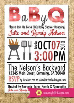 Printable BBQ Invitation - Backyard BBQ Shower Invite DIY - birthday baby shower invitation party grill backyard