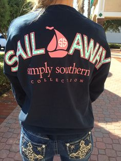 Simply Southern Sail Away Spirit Jersey - Navy from Chocolate Shoe Boutique Country Girls Outfits, Preppy Outfits, Cute Summer Outfits, Preppy Style, Cute Outfits, My Style, Simply Southern Shirts, Preppy Southern, Southern Prep
