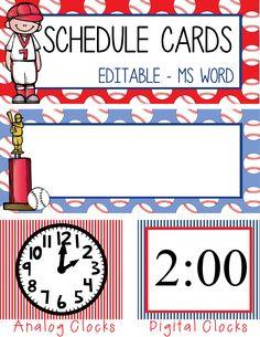 BASEBALL Theme Classroom Decor / Schedule Cards / editable / 24 designs/ Analog and Digital Clocks / ARTrageous FUN / graphics by Melonheadz