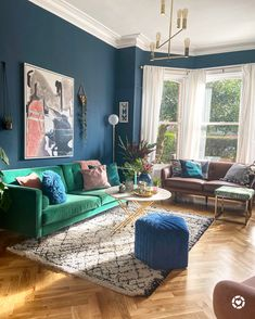 Herringbone floor, green sofa, hague blue farrow and ball, blue footstool Blue And Green Living Room, Blue Living Room Decor, Colourful Living Room, Living Room Color Schemes, Living Room Designs, Green Living Room Walls, Living Room With Color, Green Living Room Ideas, Blue Green Rooms