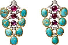 CARTIER. Earrings - yellow gold, platinum, carved turquoise, cabochon-cut rubies, brilliant-cut diamonds. (=)