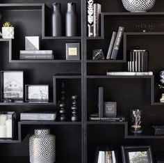 So much more than kitchens and bathrooms . Your local cabinetmaker is good for the job . Storage Shelves, Shelving, Shelf, Black Shelves, Love Store, Black And White Interior, Cabinet Makers, Living Room Interior, Cool Websites