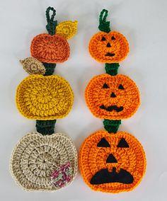 Falling Pumpkin Wall Hanging - free crochet pattern by Aurora Suominen