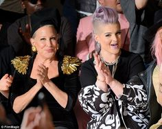 """Supreme witch Bette Midler has a """"Kelly is right next to me isn't she?"""" look on her face. Sparkly Skirt, Kelly Osbourne, Bette Midler, Kristin Cavallari, Three Kids, That Look, Stylish, Amazing People, Fashion Design"""