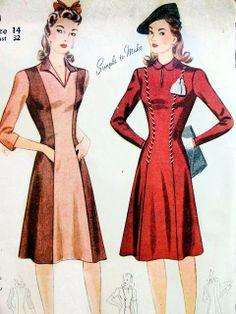 1940s SIMPLICITY 4400 DRESS PATTERN PRINCESS STYLE, KEYHOLE NECKLINE VERSION, SIMPLE TO MAKE