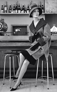 Bealted oversize coat with hound tooth trim & matching hat, Rome 1957