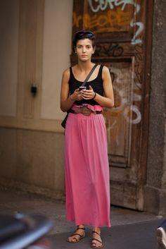 long neon skirt with belt