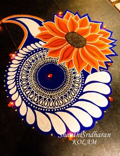 Simple and Unique Multicolor Rangoli Designs - ArtsyCraftsyDad Source by aggarwalanjum. Rangoli Designs Peacock, Best Rangoli Design, Easy Rangoli Designs Diwali, Rangoli Simple, Rangoli Designs Latest, Simple Rangoli Designs Images, Rangoli Border Designs, Small Rangoli Design, Rangoli Patterns