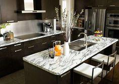 Laminate Countertop Types Of Countertops, Cheap Countertops, Laminate Countertops, Countertop Materials, Bathroom Countertops, Granite Kitchen, Concrete Countertops, Painted Countertops, Cement Counter